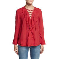IroFinley Ruffled Lace-Up Top, Poppy Red