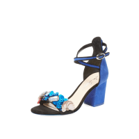 Isa TapiaFlora Embellished Block Heel Sandal