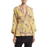 Isabel Marant3/4-Sleeve Embroidered Tunic Blouse, Light Yellow