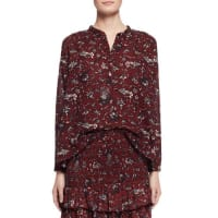 Isabel MarantAmaria Long-Sleeve Floral Blouse, Burgundy/Gray