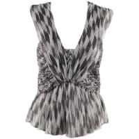 Isabel MarantBlack & White Silk Chiffon Moody Top Sleeveless Size 36
