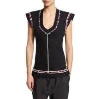 Isabel MarantCap-Sleeve U-Neck Embroidered Top, Black