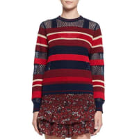 Isabel MarantDeacon Ribbed Mesh-Trim Pullover Sweater, Blue