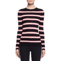 Isabel MarantDerring Striped Fitted Pullover Sweater, Ecru/Black