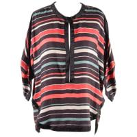 Isabel MarantEtoile Multicolor Striped Textured Silk Blouse Top Size 40