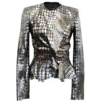 Isabel MarantMetallic Silver Leather Jacket