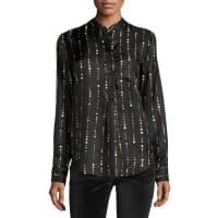 Isabel MarantVertical Space Dot-Print Silk Blouse, Black
