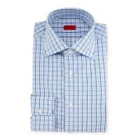 IsaiaBox Check Mitered-Cuff Dress Shirt, White/Blue