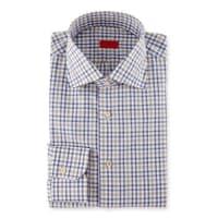 IsaiaCheck Dress Shirt, Navy/Camel/Gray