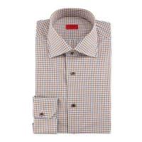 IsaiaWindowpane-Check Woven Dress Shirt, Brown