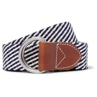 J.crew3.5cm Leather-trimmed Woven Cotton Belt - Blue