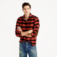 J.crewCotton-wool elbow-patch shirt in red-and-black plaid