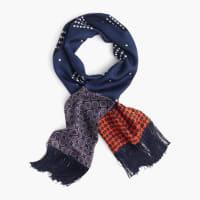 J.crewLightweight silk scarf in printed navy patchwork