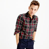 J.crewSlim midweight flannel shirt in black-and-red tartan