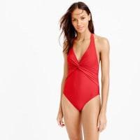 J.crewLong torso twist-front halter one-piece swimsuit