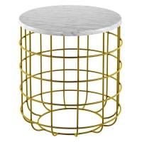 J. Elliot HomeOliver Marble Wire Side Table, Gold
