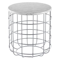 J. Elliot HomeOliver Marble Wire Side Table, Silver