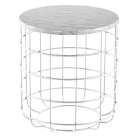 J. Elliot HomeOliver Marble Wire Side Table, White
