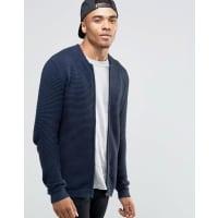 Jack & JonesRibbed Zip Through Knitted Cardigan - Navy