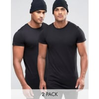 Jack & JonesCore Exclusive Longline T-Shirt Multi Pack - Black