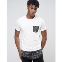 Jack & JonesLanges T-Shirt mit Kontrasttasche und abgerundetem Saum - Weiß
