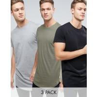 Jack & JonesOriginals Longline Curved Hem T-Shirt 3 Pack - Multi