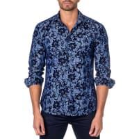 Jared LangScroll-Print Sport Shirt, Blue