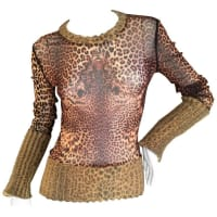 Jean Paul Gaultier1990 Leopard Top With Ribbed Knit Trim