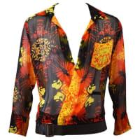 Jean Paul Gaultier90s Jean Paul Gaultier Silk Butterfly Shirt With Detachable Leather Belt