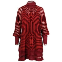 Jean Paul GaultierBurgundy Op Art Burnout Velvet Sheer Mesh Dress