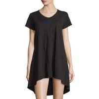 JethroShort-Sleeve High-Low Shift Dress, Black