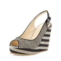 Jimmy Choo LondonProva Striped Slingback Wedge Sandal, Beige/Black