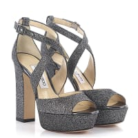 Jimmy Choo LondonSandalen April Plateau Lamé-Glitzergewebe anthrazit