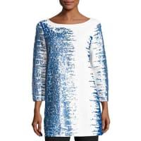 Joan Vass3/4-Sleeve Gradient Sequined Tunic, Plus Size