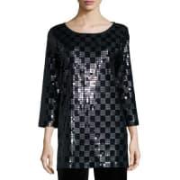 Joan Vass3/4-Sleeve Square Sequined Tunic