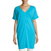 Joan VassLong Cotton Interlock Tunic, Turquoise
