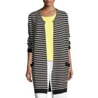 Joan VassStriped Long Sweater Coat, Plus Size