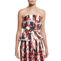 Johanna OrtizDominica Leaf-Print Bandeau Top & Belt, Red/White/Blue
