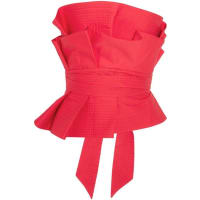 Johanna OrtizRockstar Ruffled Cotton-poplin Bustier Top - Red
