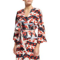 Johanna OrtizSt. Croix Leaf-Print Striped Kimono Coat, Red/White/Blue