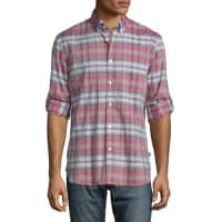 John VarvatosCheck-Plaid Roll-Tab Sport Shirt, Brick