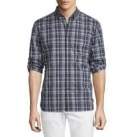 John VarvatosSlim-Fit Plaid Sport Shirt, Plum