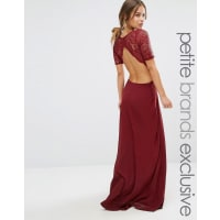 John ZackLace Bodice Maxi Dress With Cut Out Detail - Berry