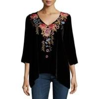 Johnny WasAmber 3/4-Sleeve Embroidered Velvet Tunic