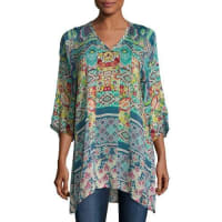 Johnny WasAnita 3/4-Sleeve Tile-Print Tunic, Multi, Plus Size