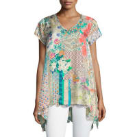 Johnny WasAzzy Printed Trapeze Top, Plus Size