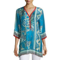 Johnny WasBessy Button-Front Easy Tunic, Multi Colors