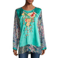 Johnny WasBlossom Embroidered Floral-Print Blouse, Multi, Plus Size
