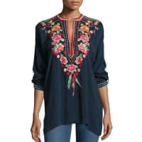 Johnny WasBlossom Tab-Sleeve Embroidered Blouse