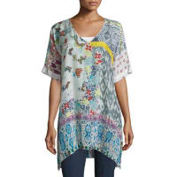 Johnny WasButterfly Half-Sleeve Printed Tunic, Multi Colors
